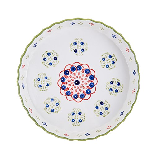 Pfaltzgraff Pink/Green Ceramic Round Pie Plate, 11-Inch - Large Pie Plate