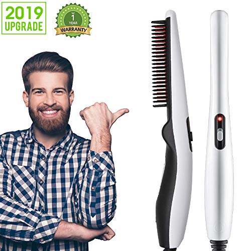 Beard Straightener Comb, Quick Electric Heated Beard Brush Beard Styler for Men, Travel Portable Styling Comb beard iron, Multifunctional Hair Straightening Brush (W88-989)