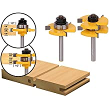 FORTOMORROW 2PCS Tenon Cutter Floor Wood Drill Bits Groove and Tongue Router Bit 1/2 T type Shank 3 Teeth Milling Cutter For Wood