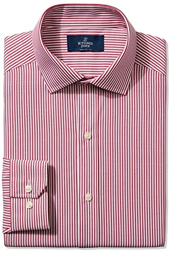 Bengal Tall Shirt (Buttoned Down Men's Fitted Spread-Collar Non-Iron Dress Shirt, Burgundy Bengal Stripe, 18