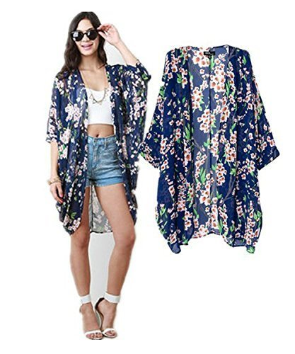 59c266e340e38 Image Unavailable. Image not available for. Color: Mixmax Vintage Women  Floral Print Long Loose Kimono Cardigan Blouses Beach Cover ...