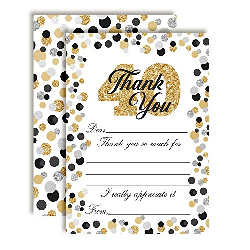 Border Big Bold (Confetti Polka Dot 40th Themed Thank You Notes, Ten 4