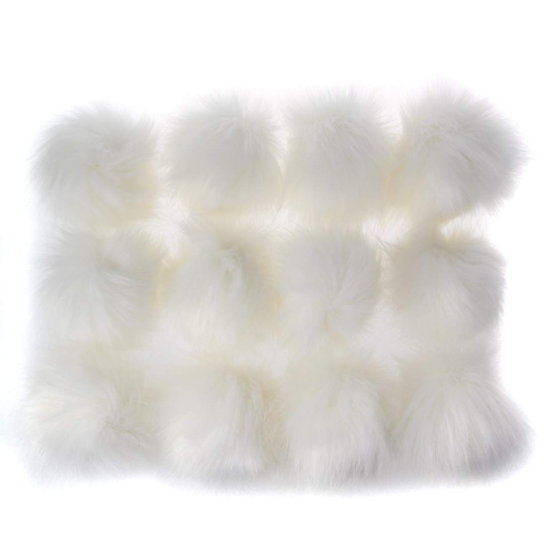 E-Brown DIY 12 pcs Faux Fox Fur Fluffy Pompom Ball with Elastic Cord for Hats Beanies Shoes Scarves Bag Charms Accessories 4 inch