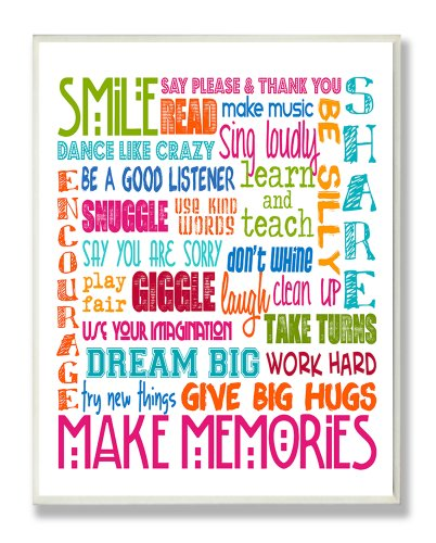 The Kids Room by Stupell Smile Make Memories Rainbow Rectangle Wall Plaque, 11 x 0.5 x 15, Proudly Made in USA