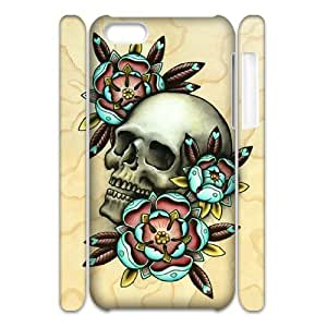 QWSPY Skull Arts Phone 3D Case For Iphone 5C [Pattern-2]
