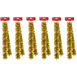 6 x Strands Of 2M Luxury Christmas Tinsel Foiled Thick & Thin Mix - Gold by Tallon