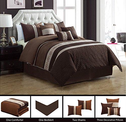 Modern 7 Piece QUEEN Bedding BROWN, TAUPE