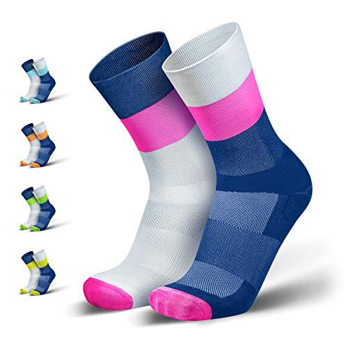 INCYLENCE Mirrored Kompressionssocken lang, leichte Running Socks mit Anti-Blasenschutz, atmungsaktive Funktionssocken, Triathlon Socken, Größe 35-46