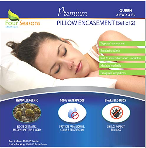 Four Seasons Essentials Queen Size Waterproof Pillow Protectors (Set of 2) - Allergy Pillowcase Cover Hypoallergenic Bedbug Dust Mite Proof Zippered Encasement (Proof Cases Allergen Pillow)