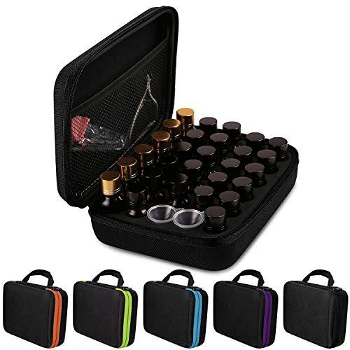 AKWOX Essential Oil Storage Case for 5ml /10 ml /15ml Bottles (Holds 30 Bottles), Essential Oil Traveling Carrying Case – Hard Box for Essential Oil Bottles Storage – Black
