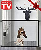 Queenii Magic Gate for Dogs, Pet Safety Gate, Portable Folding Mesh Magic Gate Baby Safety Gates, Safe Guard Install Anywhere, Safety Fence for Hall Doorway Wide Tall (Black)