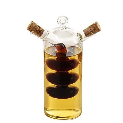 WYYU Dispensador Aceite Oliva y Vinagre,2 en 1 Botellas Vidrio con ...