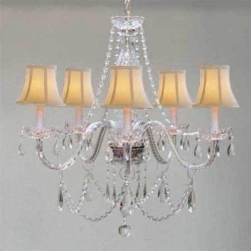 Chandelier Made with Swarovski Crystal Murano Venetian Style Chandelierlighting White Shades W24 X H25