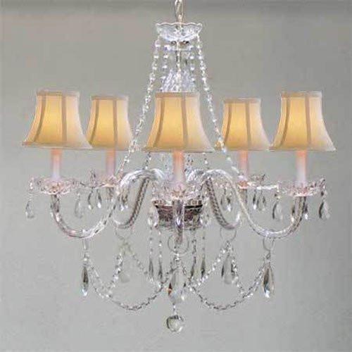 Swarovski Crystal Trimmed Chandelier! Murano Venetian Style Chandelierlighting & White Shades!W24 X H25