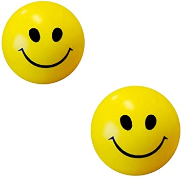 ToyStack Smiley face Squeeze Balls for Kids and Adults for Stress Relief and Playing (Pack of 2)