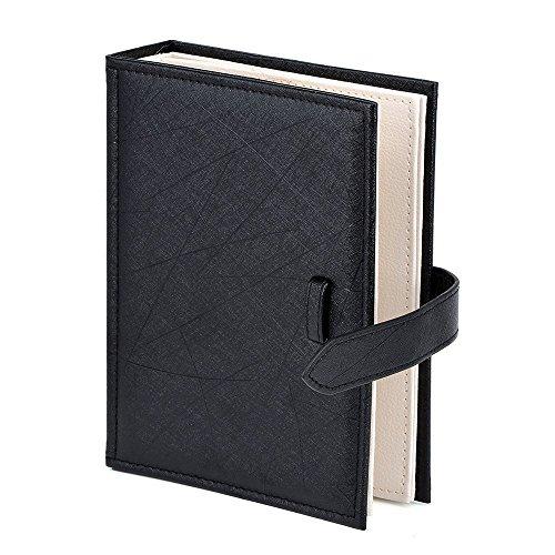 Jewelry Organizer, Portable Earring Holder Travel Jewelry Case Pu Leather Earring Holder with Book Design (Black)