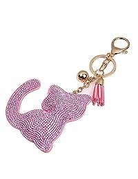 Keychains, Doinshop Bling Rhinestone Tassel Cat Key Ring Car Key Pendant