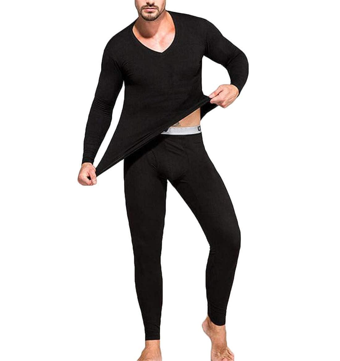 Nanquan Men Casual Thermal Underwear Long Johns Set Base Layer
