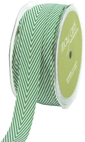 May Arts 3/4-Inch Wide Ribbon, Green Twill with Chevron Stripes -