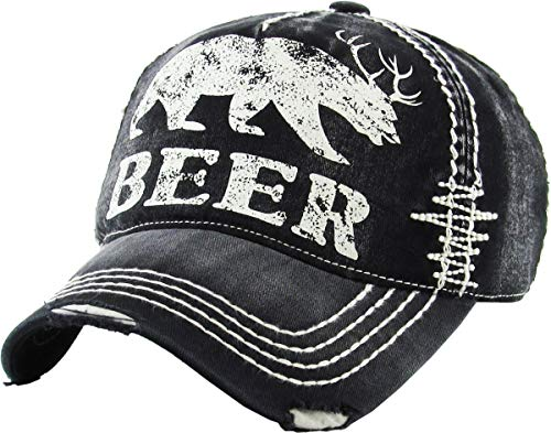 KBVT-588 BLK Beer Bear Dear Vintage Ballcap Distressed Washed