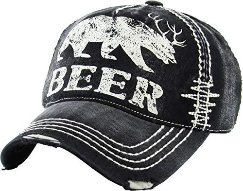 KBVT-588 BLK Beer Bear Dear Vintage Ballcap Distressed Washed ()