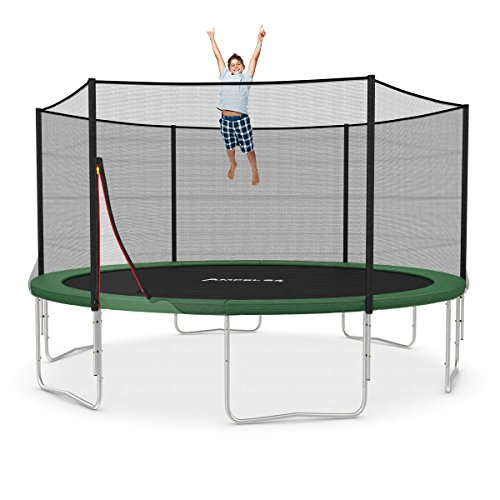 Ampel 24 Trampolin Ø 430 cm grün | Gartentrampolin Komplettset mit verstärktem Netz | belastbar bis 160 kg