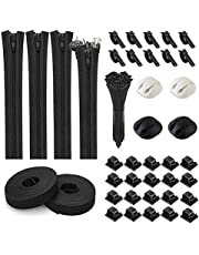 FYJIDY 140PCS Cord Management Organizer Kit,4 Cable Sleeve with Zipper,24 Cable Clips,2 Adhesive Roll Ties and 110 Fastening Cable Ties for School Office Home (Black)