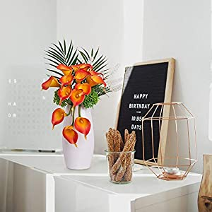YUYAO Calla Lily Artificial Flowers Bridal Wedding Bouquets Latex Real Touch Lillies Flower Arrangements for Home Party (03, Sunset) 3