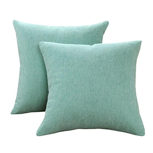 Sunday Praise Cotton-Linen Decorative Throw Pillow Covers,Classical Square Solid Color Pillow Cases,18x18 inches Cushion Covers for Sofa Couch Bed&Car,Pack of 2 (Light Green)
