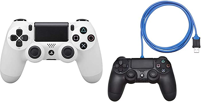 Sony - Dualshock 4 V2 Mando Inalámbrico, Color Blanco (Glacier White) (PS4) & AmazonBasics - Cable de carga para mando de PlayStation 4: Amazon.es: Videojuegos