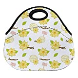 DKISEE Vanilla Ice Cream Pattern Large & Thick Neoprene Lunch Bags Insulated Lunch