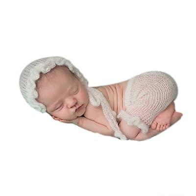 Mode nouveau-né garçon fille bébé Costume tenues Photographie Props Chapeau Pantalon Blanc