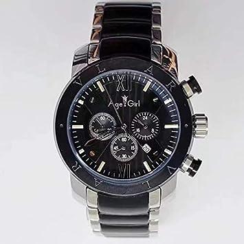 AHELUSB Reloj Hombre Acero Inoxidable Oro Rosa Plata Negro ...