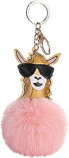 Cool Sunglasses Alpaca Keychain Pendant Hangs for Women Cut Small Gift Plush Hair Ball Holder Pompoms Sheep Key Chains Evangelia.YM (Beige)