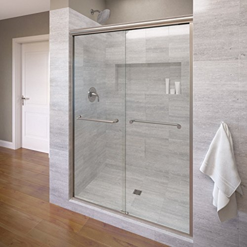 Basco Infinity Semi-Frameless Sliding Shower Door, Fits 44-47 inch opening, Clear Glass, Brushed Nickel Finish