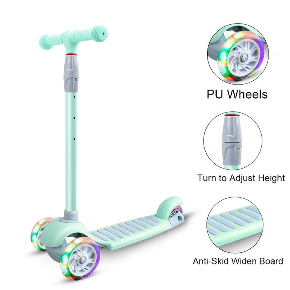67i Kick Scooter for Kids 3 Wheel Scooter for Toddlers Girls & Boys 4 Adjustable Height Lean to Steer with PU Light Up Wheels for Children from 3 to 14 Years Old (Green)