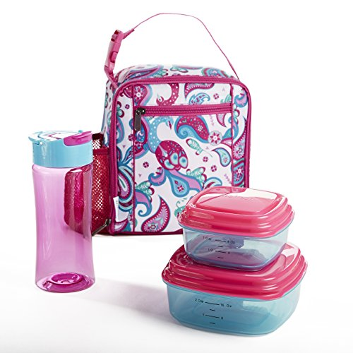 Fit & Fresh Scout Lunch Kit for Kids with BPA-Free Containers and Water Bottle, Peacock Paisley by Fit & Fresh
