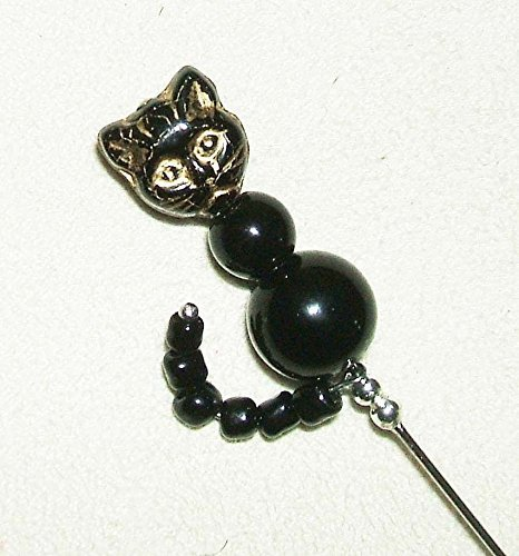 BLACK CAT w TAIL Stick Hat Pin Long Hatpin SILVER Plated CZECH GLASS PRESSED CAT HEAD Cat Plated Brooch