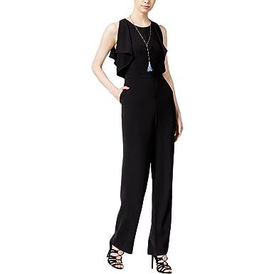 b362fbdf3b Rachel Roy Rachel Womens Sleeveless Ruffle-Detail Jumpsuits Black 12 ...