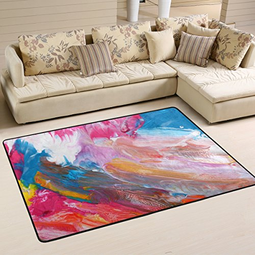 - XiangHeFu Area Rugs Doormats Abstract Acrylic Hand Painted Background Soft Carpet Mat 6'x4' (72x48 Inches) for Living Dining Dorm Room Bedroom Home Decorative