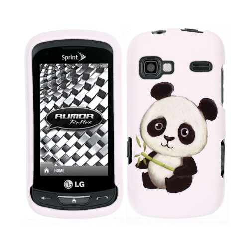 FINCIBO (TM) Protector Cover Case Snap On Hard Plastic Front And Back For LG Rumor Reflex LN272 Xpression C395 - Baby Panda