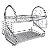 WinnerEco S-Shaped 2 Tiers Kitchen Dish Cup Drying Rack Holder Organizer