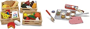Melissa & Doug Food Groups - 21 Hand-Painted Wooden Pieces and 4 Crates with Melissa & Doug Slice and Bake Wooden Cookie Play Food Set Bundle
