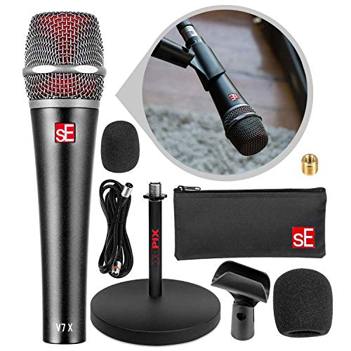 sE Electronics V7 X Supercardioid Dynamic Instrument Microphone with Desktop Microphone Stand Accessory Bundle