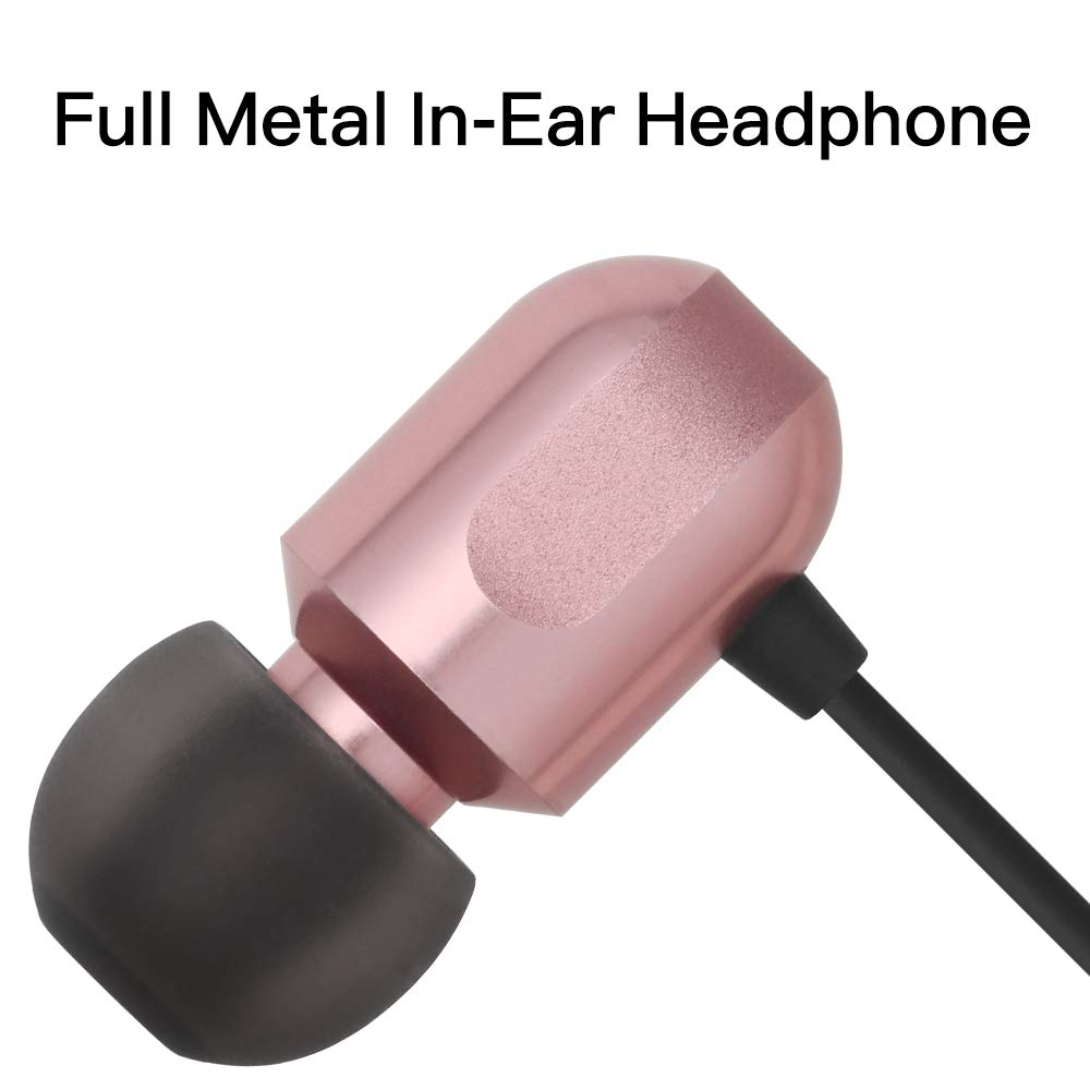 Earbuds, GGMM Ear Buds with Microphone in Ear Headphones Full Metal Noise Cancelling Earbuds with Mic, Clear Highs Earphones, C700 Rose Gold