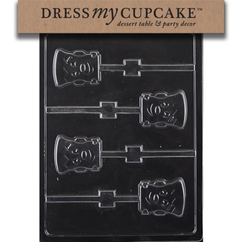 Dress My Cupcake DMCH170SET Chocolate Candy Mold, Cute Frankenstein Lollipop, Set of 6 (Frankenstein Candy)
