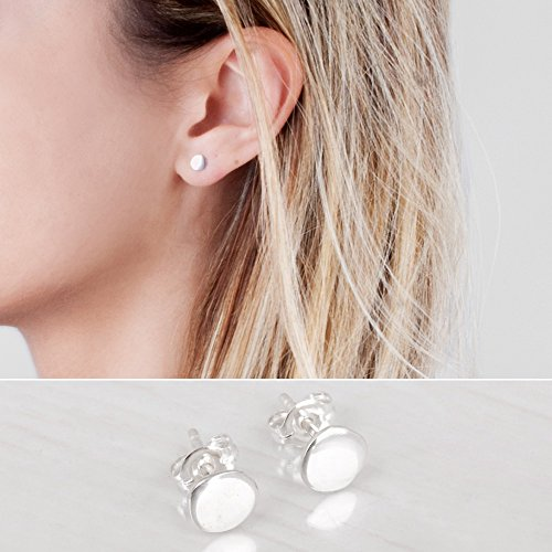 Sterling Silver 925 Circle Stud Earrings - Designer Handmade 5mm Minimalist Flat Dot Post Earrings