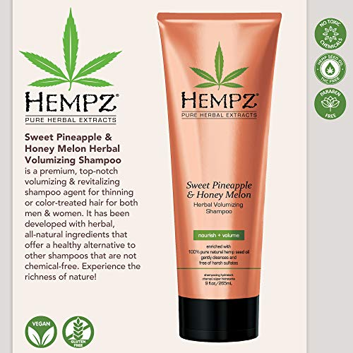 Hempz Sweet Pineapple and Honey Melon Herbal Volumizing Shampoo, 9 oz. - Natural Thickening and Repair Product for Women with Color Treated and Fine Hair, Restorative Shampoos with Volume 3
