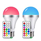 LED Color Changing Light Bulbs Daylight E26 10W RGB Light Bulbs with 21key Remote Control, 60W Incandescent Equivalent, Memory Function, RGB + Daylihgt White, Dimmable with Remote, Pack of 2 Review
