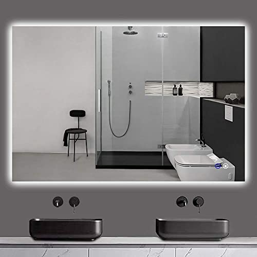 TokeShimi 48 x 32 Inch LED Backlit Mirror Bathroom Vanity Mirror Large Wall Mounted Lighted Mirror Anti-Fog Dimmable Makeup Mirror with Lights Horizontal Vertical